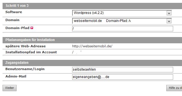 Alfahosting WordPress installieren: Grundangaben