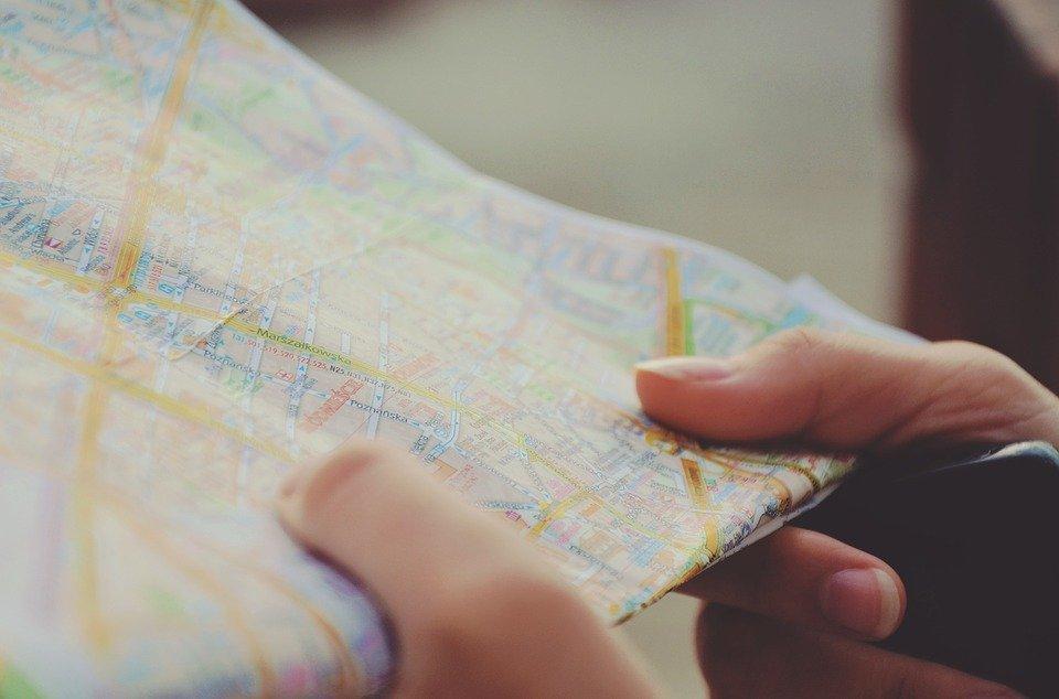Karte, Navigation, Hände, Reisen, Strecke, Reise, Stadt