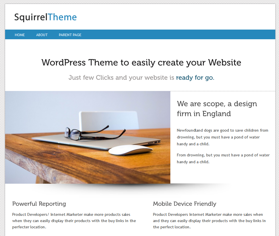 WordPress Vorlage Squirrel