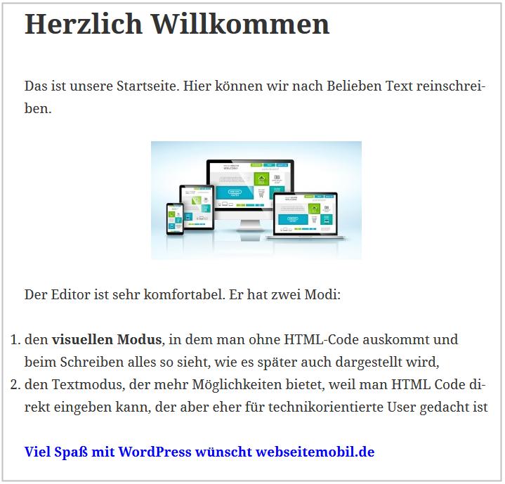 Startseite mit WordPress